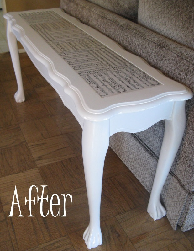 Sheet music modge podge table! - this could also be cute as a piano bench! -- #Alaina Robinette