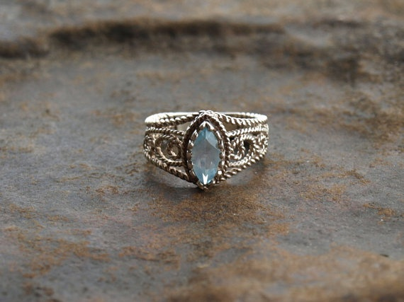 Vintage Avon Sterling Silver Aquamarine Ring Cheap