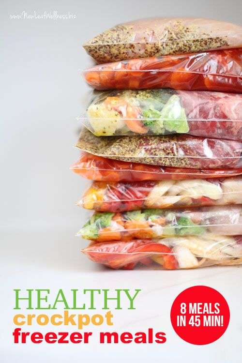 8 Healthy Crockpot Freezer Meals in 45 Minutes. Printable recipes and grocery list included. I made these and they're awesome!