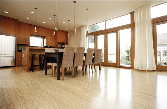Beautiful bamboo wood flooring - Shaw Bamboo Fuji Light wood flooring in kitchen. Available Express Flooring Deer Valley North Phoenix Arizona