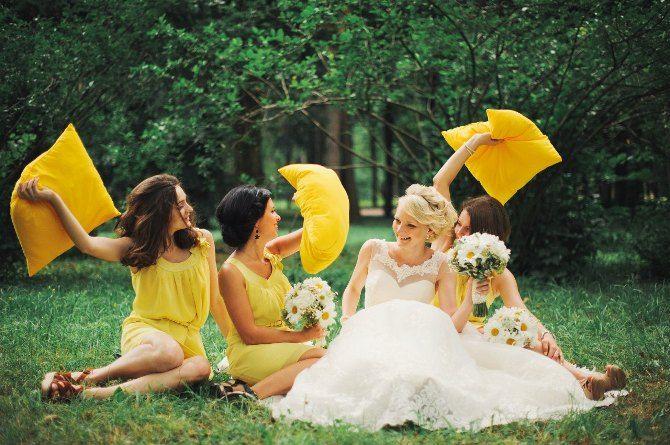 Веселое фото с подружками / Ромашковая свадьба / Daisy wedding
