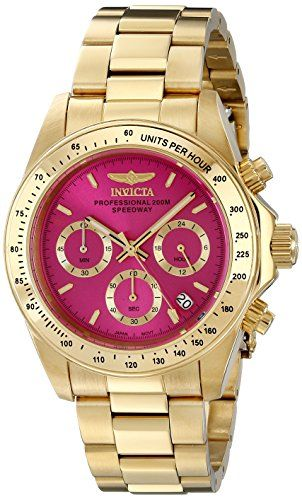 Invicta Womens 18255 Speedway 18k Gold Ion-Plated Watch with Link Bracelet
