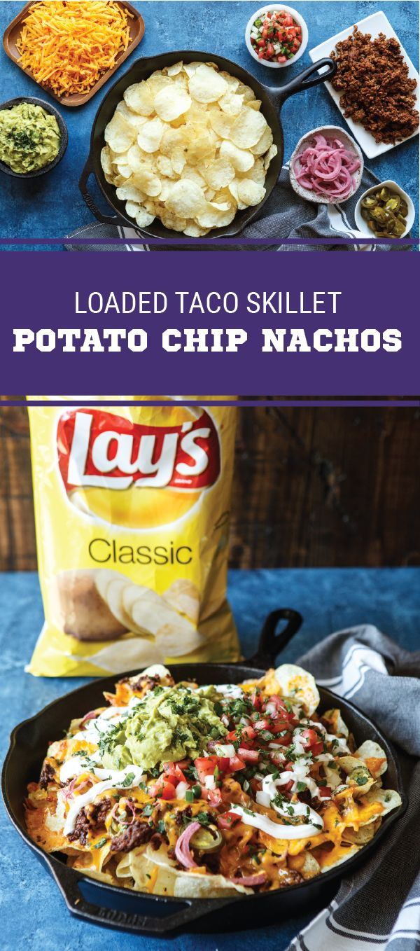 Sponsored by Frito-Lay. Combine all your favorite game day flavors into one appetizer with the help of this recipe for Skillet Loaded Potato Chip Nachos. Made with LAY'S® Classic Potato Chips, taco beef, melted cheese, pickled jalapeños, salsa, sour cream