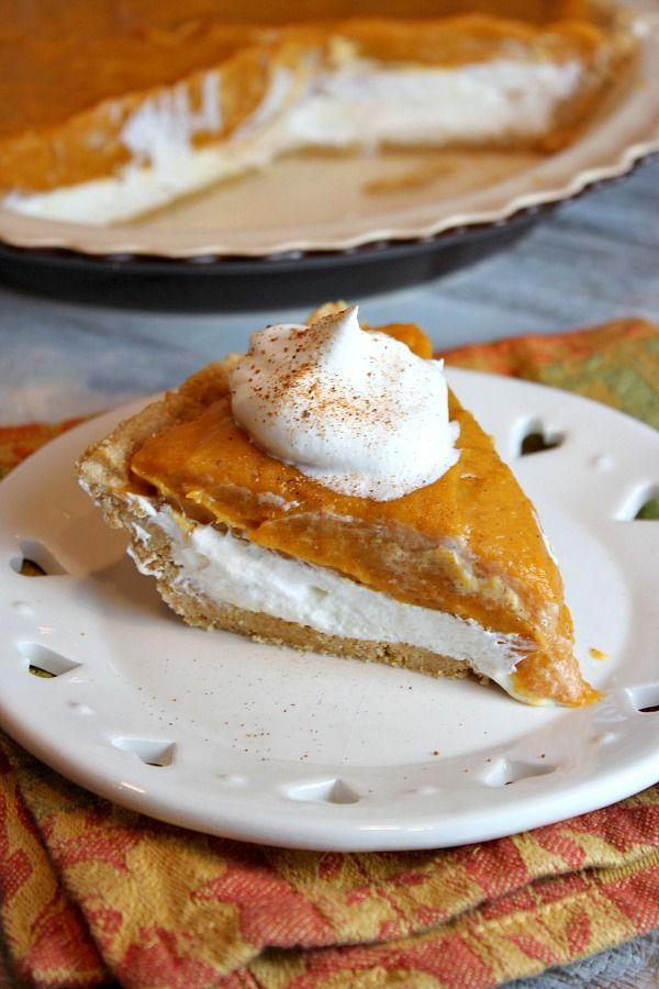 No Bake Double Layer Pumpkin Pie - RecipeGirl.com @RecipeGirl {recipegirl.com}