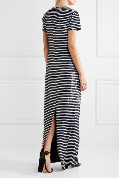 Michael Kors Collection - Striped Sequined Silk Maxi Dress - Navy - US