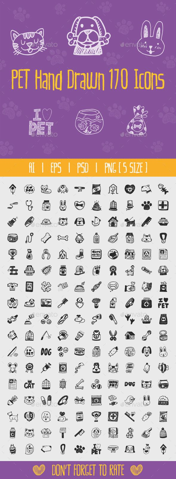 Pet Hand Drawn Icons - Animals Characters