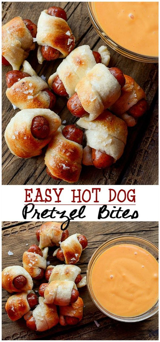 Easy Hot Dog Pretzel Bites Recipe perfect for party appetizers with cheese sauce