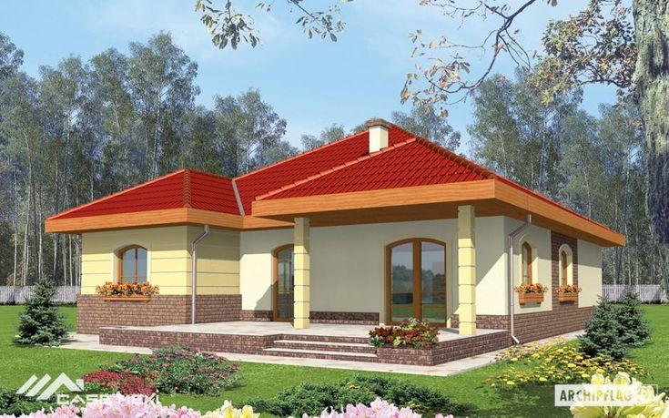 A bungalow with functional attic, without basement, with built in garage, intended for 4-person family. The roof of the building was designed in order to convert his central part into functional destinations. The simple functional agreement allows to distinguish the night zone with bedrooms and the bathroom and daily zone: living room kitchen with the dining room the toilet and a utility room.