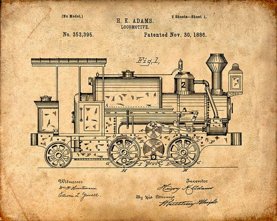 This is a print of the patent drawing for a locomotive patent in 1886. The original patent has been cleaned up and enhanced to create an attractive