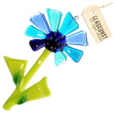 Handgemaakte bloem van blauw gekleurd glas. Unieke glazen bloem hanger!