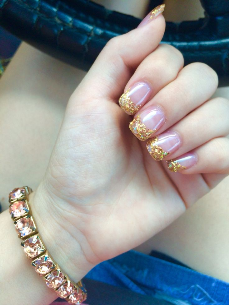 gold acrylic nails french tip glitter acrylic nails