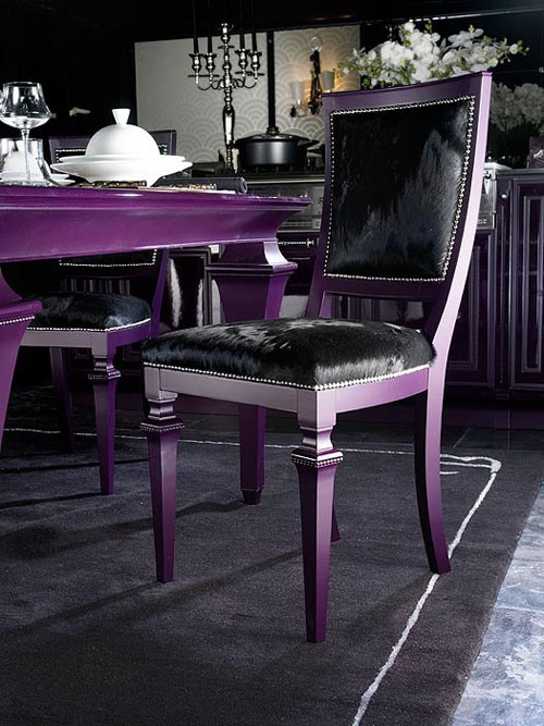 not this intense with the chairs, but i have been contemplating painting our dining room table a dark purple....