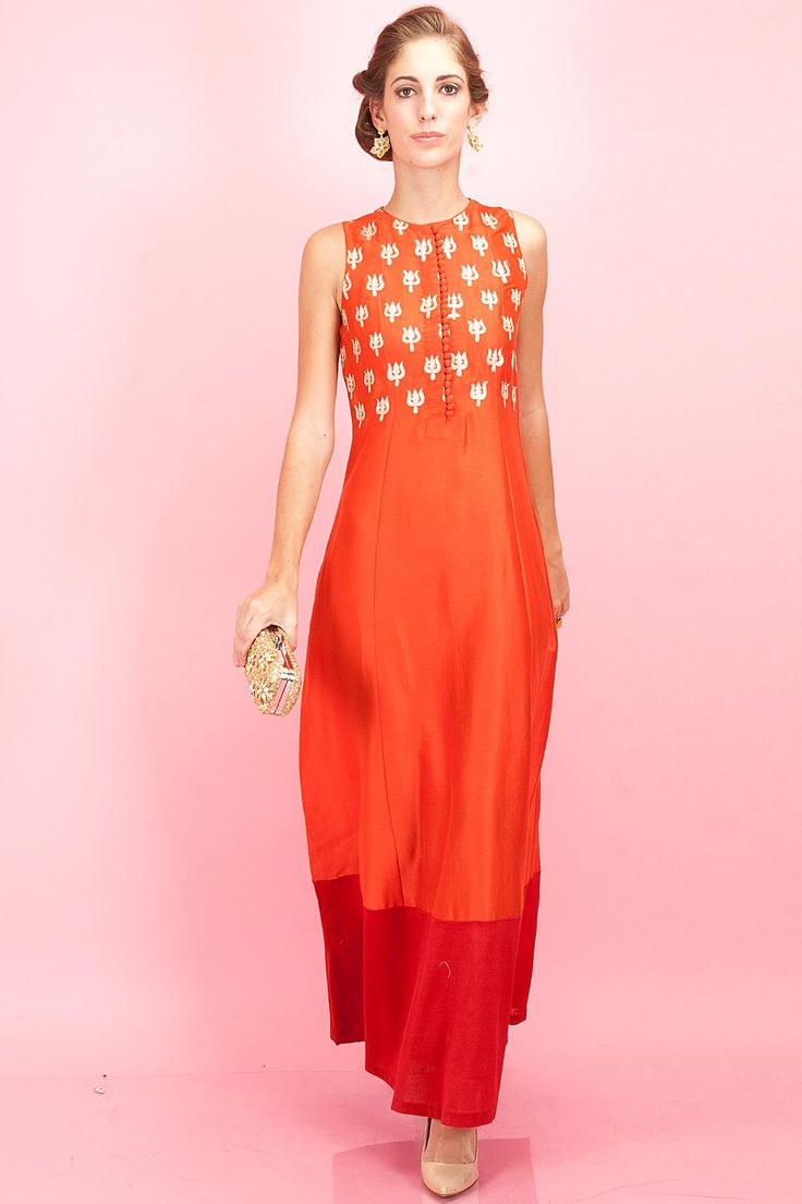 Orange floor length tunic with red border available only at Pernia's Pop-Up Shop.