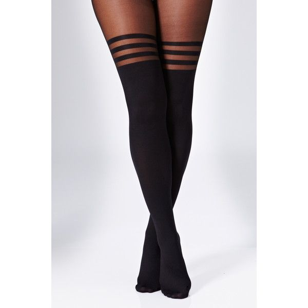 Rare London Three Ring Stripe Printed Tights (8,65 BRL) ❤ liked on Polyvore featuring intimates, hosiery, tights, accessories, socks, leggings, pants, black, stripe tights and striped pantyhose
