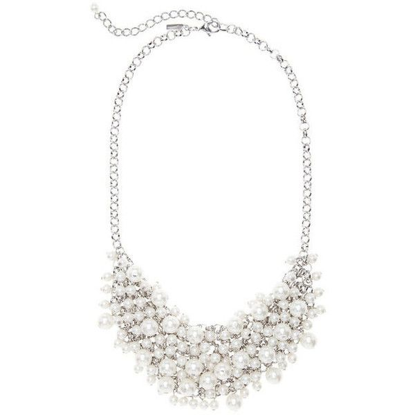 Lane Bryant Faux pearl bib necklace, Women's, White (400 MXN) ❤ liked on Polyvore featuring jewelry, necklaces, white, lobster clasp necklace, chains jewelry, white necklace, chain necklace and white statement necklace