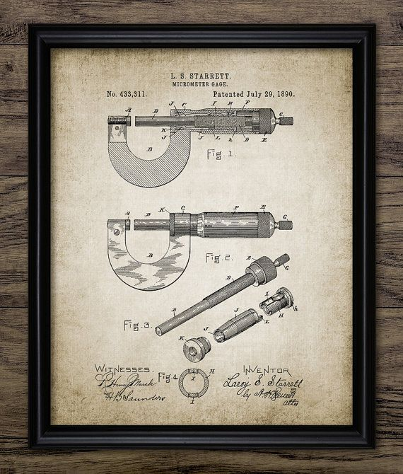 Micrómetro Vintage imprimir patentes - 1890 micrómetro medir precisión herramienta - ingeniería mecánica - solo Print #1373 - descarga inmediata