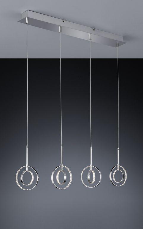 Prater riippuvalaisin 4-os. LED 4x4 W kromi  Lampun tyyppi: 4 × SMD 4 W  LED (sis.toimitukseen) Jännite: 230V Valoteho: 4 x 390 lumenia Valon sävy: 3000 kelviniä (lämmin valkoinen) Kotelointiluokka: IP20 (kuivaan tilaan) Rungon materiaali: Metalli Rungon väri: kromi Korkeus: 27 - 120 cm Pituus: 66 cm Leveys: 9 cm Takuu: 5 vuotta