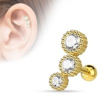 Helix piercing3 steentje rond wit gold plated
