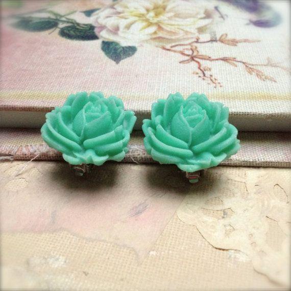 Clip On Earrings Aqua Rose Flower Earrings Vintage Style Spring Sale via Etsy