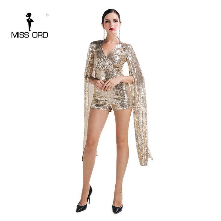Envío Libre Missord 2015 Sexy profundo v alas Del Ángel de lentejuelas playsuit FT5121-1