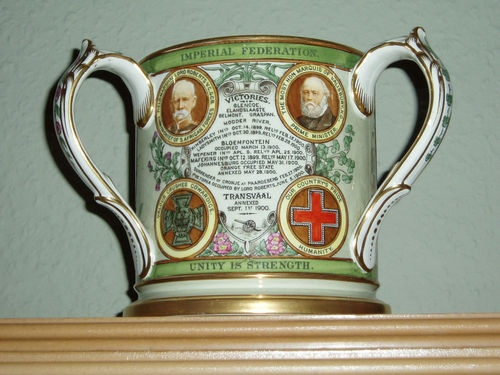 A RARE AND STUNNING COPELAND SPODE TYG FOR 1900 TO COMMEMORATE THE TRANSVAAL WAR 1899-1900.