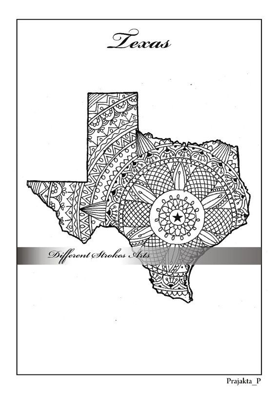 Texas maps Adult coloring and Coloring on Pinterest