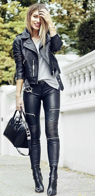 Black faux leather pants with multiple exposed zippers paired with grey T-shirt, black jacket, boots and handbag.. DIY the look yourself: http://mjtrends.com/pins.php?name=zippers-for-pants_5