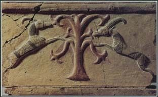 The tree of life, with sacred animals feeding on its fruit-bearing branches, is a common image in the mythology and art of the ancient Near East.