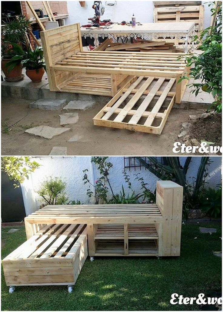 Have a look at this creative designed amazing wood pallet double bunk bed! How did you find it in terms of designing? Attractive placement of the planks of the old pallets are hence the part of it where the pattern art work with soft brown hues looks so incredible. Get ready to make it part of the living room!