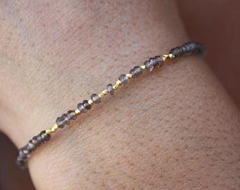 Rookkwarts Bracelet-Gold Beaded armband-Genuine Brown Rookkwarts - kostbare armband - Delicate armband goud gevuld armband