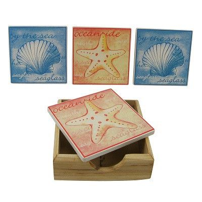 Starfish & Scallop Shell Coaster Set With Holder
