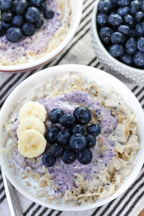 Old Fashioned Oatmeal with Blueberry Cream Cheese Swirl featuring @GoVeggieFoods Dairy Free Cream Cheese