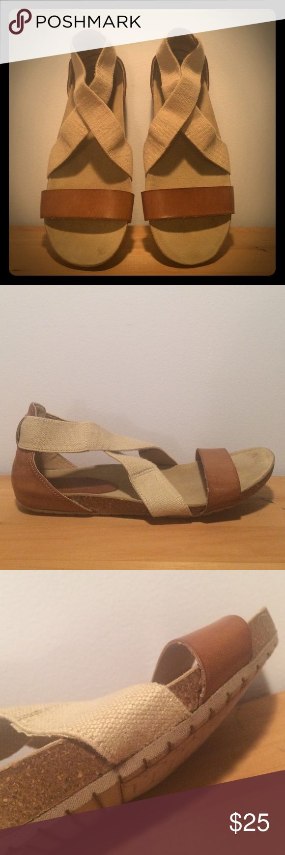 G.H. Bass & Co Classic Sandals Classic sandals made of leather and canvas. Will match with all you favorite summer sundresses. Very comfortable! Bass & Co. Shoes Sandals