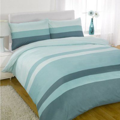 Linear Teal Blue Green Modern Striped King Size Duvet