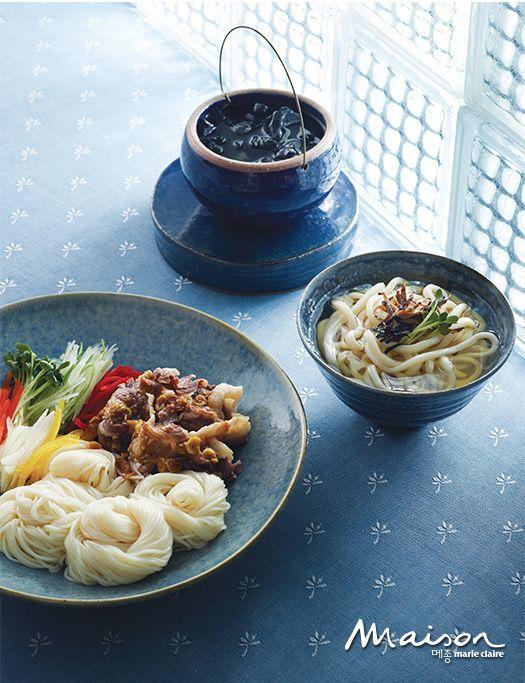 차돌박이 냉채 소면과 사찰식 버섯 장국 우동