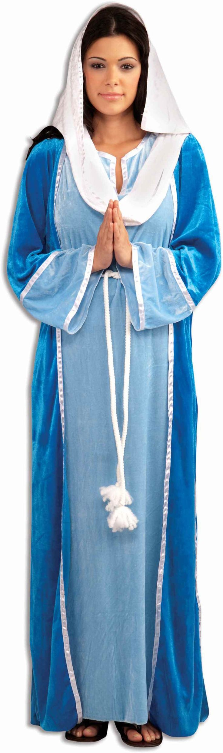 Mary Adult Costume One Size - Perfect for your next Nativity play. Includes: Blue floor length gown and robe with attached headpiece. | Costumes.com.au