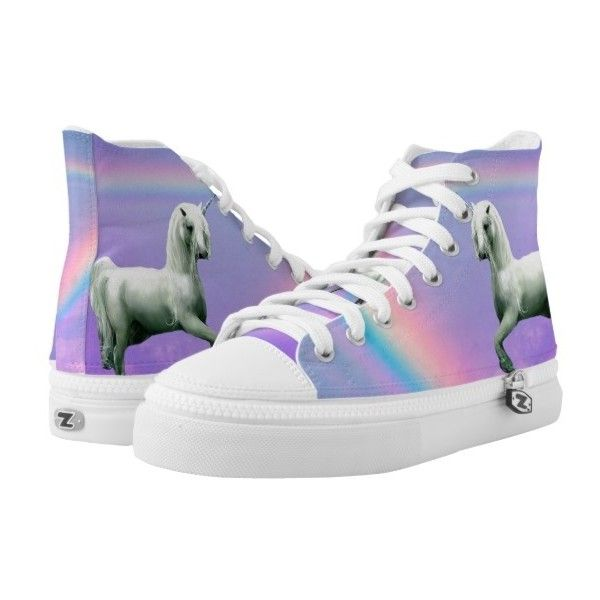 Unicorn and Rainbow High-Top Sneakers (5.405 RUB) ❤ liked on Polyvore featuring shoes, sneakers, rainbow shoes, rainbow sneakers, hi tops, rainbow footwear and high top trainers