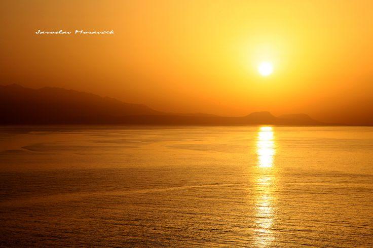 Beautiful sunset in Crete island