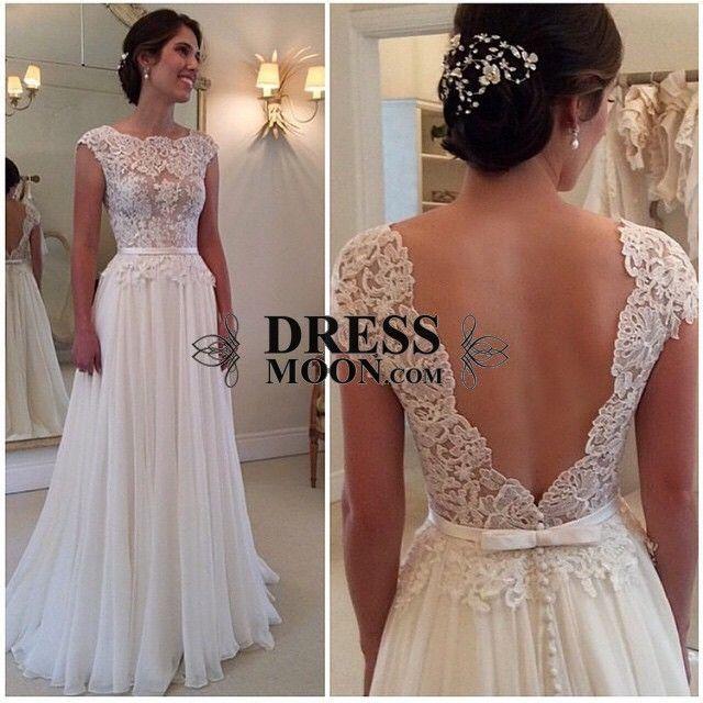 2015 Bateau A-Line Prom Dresses Fully Lace Appliques Chiffon Deep V Black Beach Wedding Dress - Lace Wedding Dresses - Wedding Dresses - Weddings