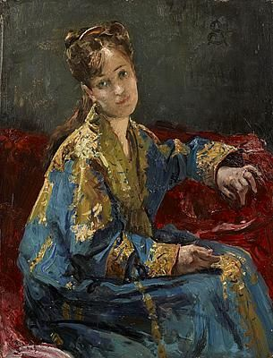 Alfred Stevens (Belgian, 1823-1906) : Girl Wearing a Kimono, n.d.  John Mitchell. London. [actually it looks more like a Ottoman Turkish robe]