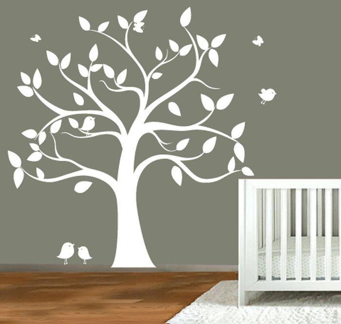 nursery wall decal tree: Nurseries Wall, Nurseries Trees, Decor Ideas, Nursery Walls, Wall Decals, Kids Room, Baby Room, Trees Silhouettes, Decals Trees