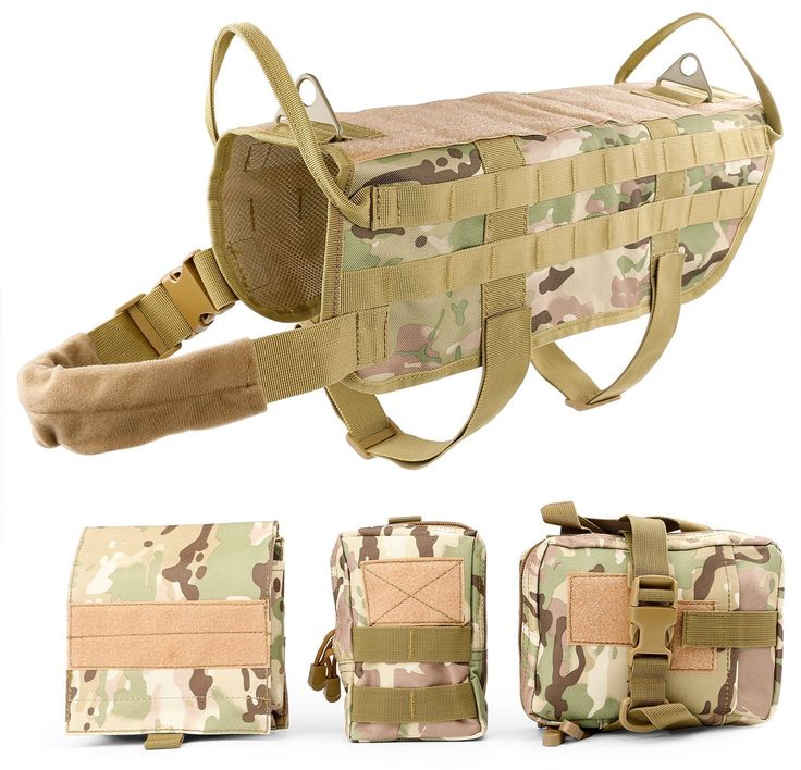 Tactical Dog Training Molle Vest Harness WHIPPY Pet Vest with Detachable Pouches 2 Camo/ with pouches L