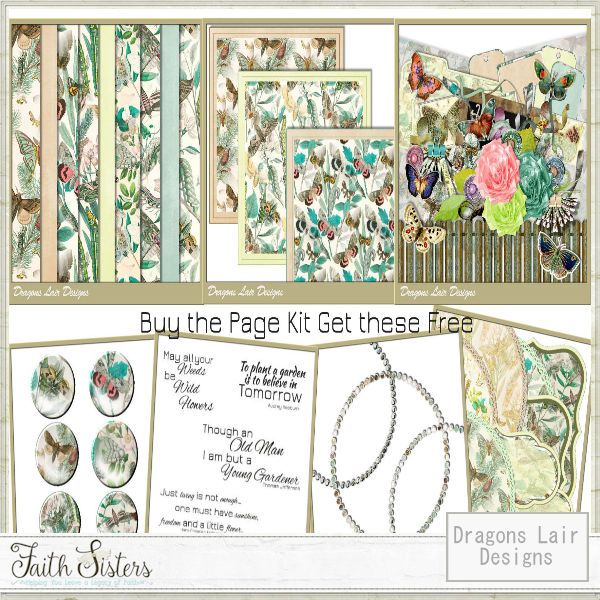 Butterfly Garden Page Kit - FREE Extras - Dragons Lair Designs