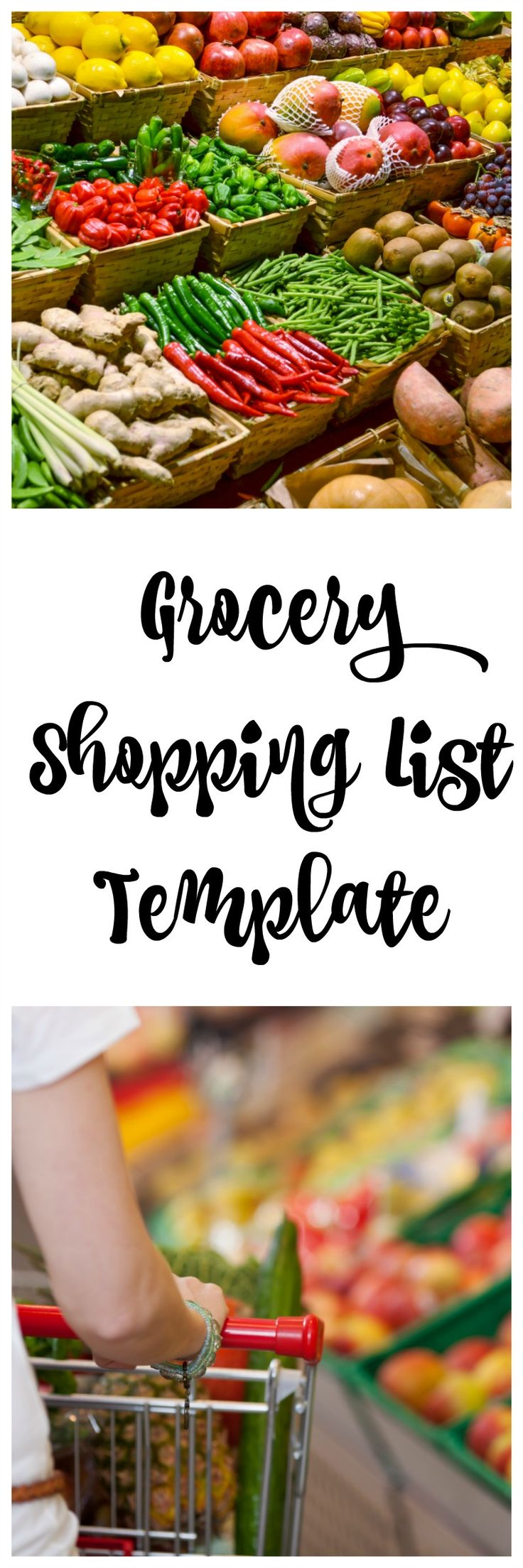 This printable Grocery Shopping List Template is easy to use, keeps you organized and helps you save money at the grocery store!