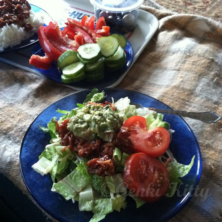 BBQ pork vegan salad