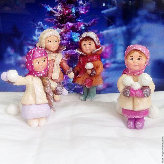 Коллекционные куклы ручной работы. Ярмарка Мастеров - ручная работа. Купить Веселая компания детишек.Елочные украшения из Ваты.. Handmade.