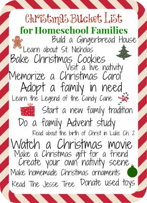 Christmas Bucket List for Homeschool Families