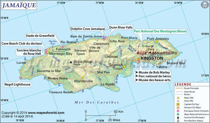 Jamaïque Carte (#Map of #Jamaica)