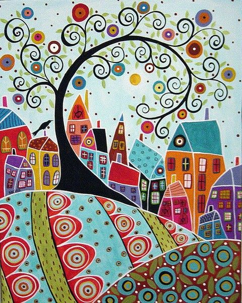 Bird Houses And A Swirl Tree Painting by Karla : 16x20 Original abstract folk art painting by Karla G via Flickr