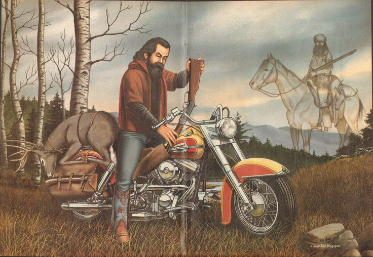 The Hunter   David Mann biker art centerfold poster removed from a vintage Easyriders motorcycle magazine, matted as shown, ready to insert into a 16 x 20 frame.  Great vintage motorcycle artwork print to decorate your office, garage, basement, rec room, man cave & more! Makes a great gift!  Size including mat: 16 x 20 Image area: approx. 10 x 15   8612ezrxmb